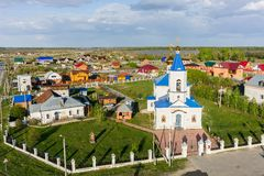 Aerial view on Sacred and Ilyinsky temple. Kilki Stock Photo