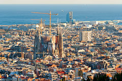 Aerial view of the Sagrada Familia Royalty Free Stock Images