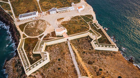 Aerial view of Sagres Fortress at evening aerial view, Portugal Royalty Free Stock Photo