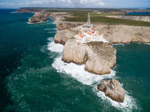 Aerial view of Sagres Lighthouse at Saint Vincent Cape,  Algarve, Portugal Royalty Free Stock Images