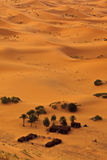 Aerial view of Sahara and bedouin camp, Morocco Royalty Free Stock Photography