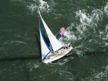 Aerial view of sailboat sailing briskly in San Francisco Bay Stock Photography