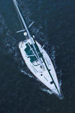 Aerial view of sailboat at sea Royalty Free Stock Photo