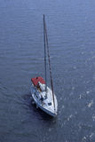 Aerial view of sailboat at sea Stock Photo