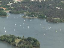 Aerial view of sailboats in Canberra stock video footage