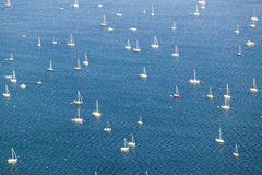 Aerial view of sailboats moored in harbor off Portland Maine Royalty Free Stock Photography