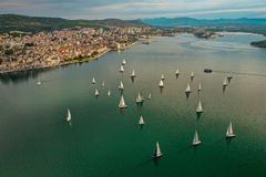 Aerial view of sailing regatta in Šibenik, Dalmatia, Croatia stock images