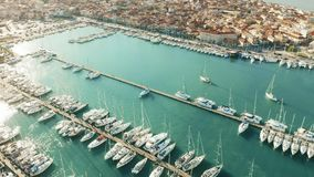 Aerial view of sailing yachts in marina. Lefkas, Greece. Aerial view of sailing yachts in marina stock footage