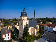 Aerial view of saint annen church goessnitz thuringia germany Royalty Free Stock Image