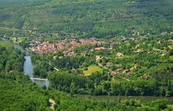 Aerial view of Saint Antonin Noble Val, a village. Aerial view of Saint Antonin Noble Val, a lovely historical village in southern France, in the Tarn-et Stock Photo