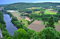 Aerial view of Saint Cirq Lapopie. In France stock photo