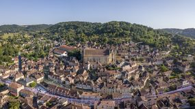 Aerial view of Saint-Cyprien, Dordogne village. In France royalty free stock image