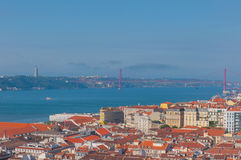 Aerial view from Saint George Castle, Portugal. Beautiful panoramic aerial view of Lisbon, Portugal Royalty Free Stock Photo