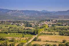 Aerial view of Saint Hippolyte du Fort occitania France. Aerial view of Saint Hippolyte du Fort gateway to Cevennes national park in background, Occitania stock images