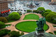 Aerial view of a Saint Issac`s Square from St. Isaac Cathedral in cloudy day, St. Petersburg, tilt shift effect. Aerial view of a Saint Issac`s Square from St royalty free stock images