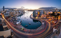 Aerial View on Saint Julien and Spinola Bay at Dawn stock photos