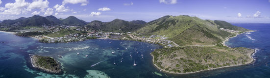 Aerial view of Saint Martin Beach Royalty Free Stock Photo