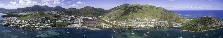 Aerial view of Saint Martin Beach Stock Photo