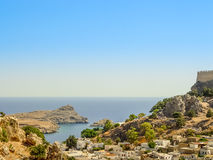 Aerial View of Saint Paul Bay and beach in Lindos Stock Images