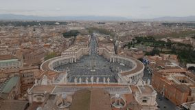 Aerial view Saint Peter square. Aerial view of the Saint Peter`s Square Piazza San Pietro in Vatican City, Rome, Italy stock footage