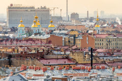 Aerial view of Saint Petersburg and Naval Cathedral of St. Nicho Royalty Free Stock Photo