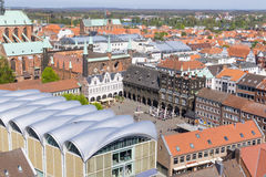 Aerial view from the Saint Petri Church tower over the summer city, Lubeck, Germany Royalty Free Stock Photos