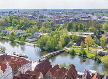 Aerial view from the Saint Petri Church tower over the summer city, Lubeck, Germany Stock Images
