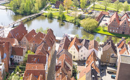 Aerial view from the Saint Petri Church tower over the summer city, Lubeck, Germany Stock Image