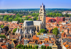 Aerial view of Saint Salvator Cathedral, Old Town of Bruges Stock Photo