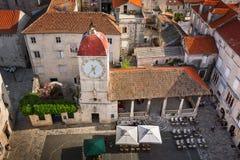 Aerial View of Saint Sebastian Church in the Center of Trogir Royalty Free Stock Image