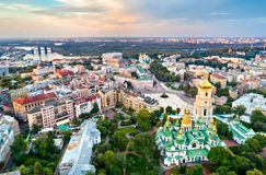 View of Saint Sophia Cathedral in Kiev, Ukraine. Aerial view of Saint Sophia Cathedral in Kiev, Ukraine royalty free stock photography