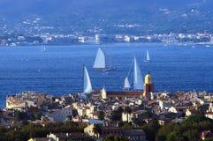 Saint Tropez. Aerial view of Saint Tropez city, France royalty free stock photo