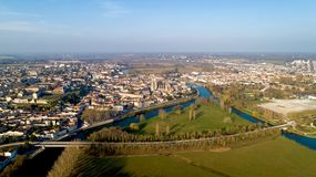 Aerial view of Saintes city in Charente Maritime. France royalty free stock photography