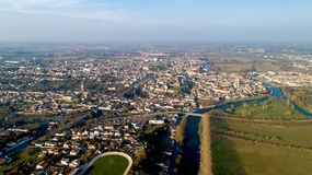 Aerial view of Saintes city in Charente Maritime. France stock photography