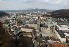 Aerial View Of Salzburg, Austria. View of Salzburg from castle on mountain overlooking the city in late afternoon Royalty Free Stock Photo