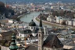 Aerial View Of Salzburg, Austria. View of Salzburg from castle on mountain overlooking the city in late afternoon Stock Image