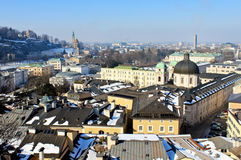 Aerial View of Salzburg. Austria, from Kapuziner Kloster during winter sunny day Royalty Free Stock Images