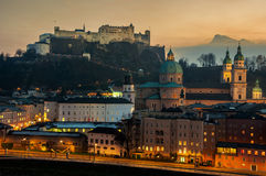 Aerial view of Salzburg, Austria at sunset Royalty Free Stock Photo