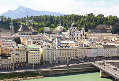 The aerial view of Salzburg City, Austria Stock Photography