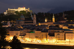 Aerial view of Salzburg in the nigh Royalty Free Stock Photo