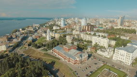 Aerial view of Samara city historical center stock footage
