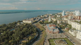 Aerial view of Samara city historical center stock video footage