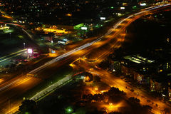 Aerial view of San Antonio intersection at night Royalty Free Stock Photo