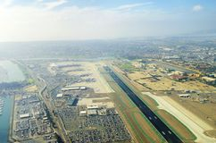 Aerial view of San Diego airport stock images