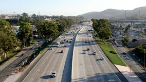 Aerial view of the San Diego freeway. Southern California freeways, USA stock footage