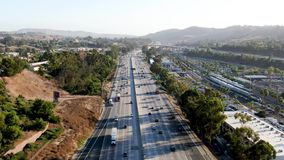 Aerial view of the San Diego freeway. Southern California freeways, USA stock video footage