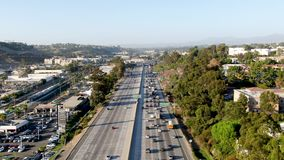 Aerial view of the San Diego freeway. Southern California freeways, USA stock video