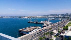 Aerial view of San Diego harbor Royalty Free Stock Images