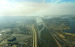 Aerial view of San Diego river. An aerial view of San Diego River leading to the pacific ocean in southen California, United States of America. A view of the Royalty Free Stock Images