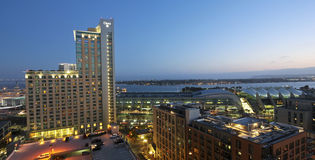 An Aerial View of San Diego at Twilight Stock Photos